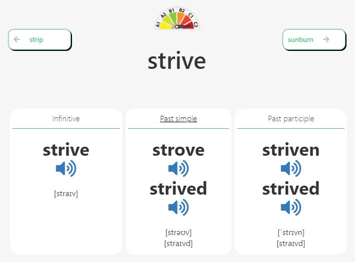 Irregular verb Strive