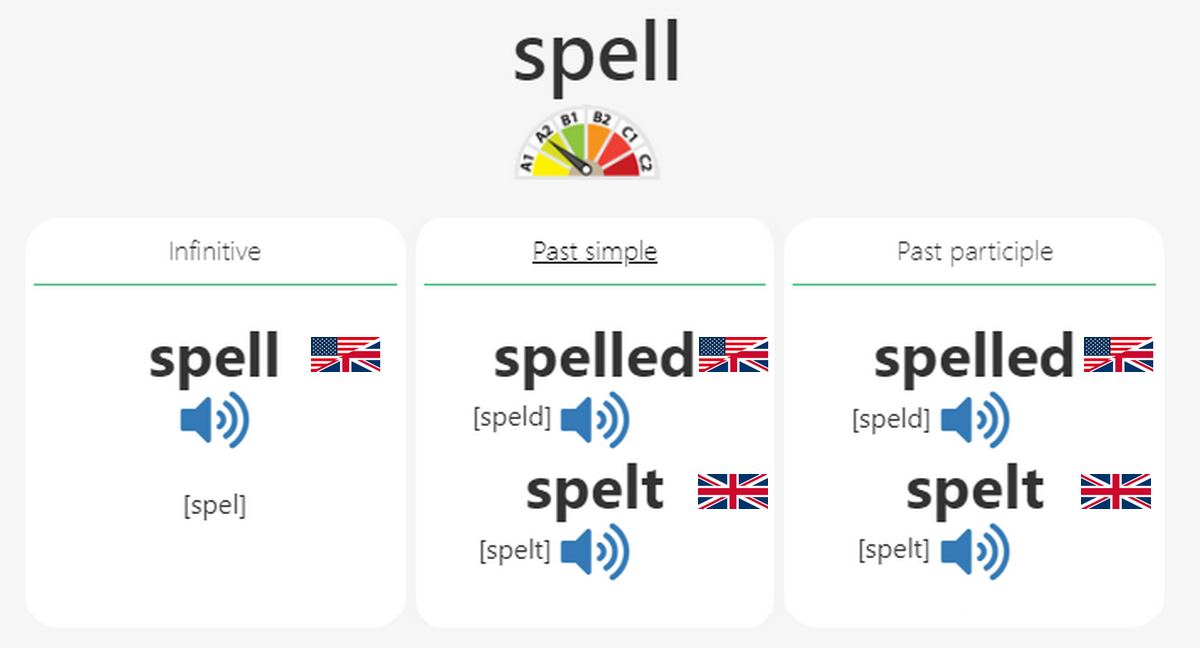 Irregular verb to Spell